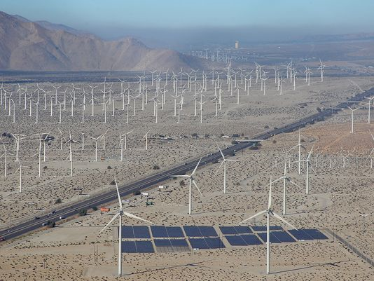 This area in the Coachella Valley next to Palm Springs,CA utilizes its natural wind tunnels and sun exposure for energy creation