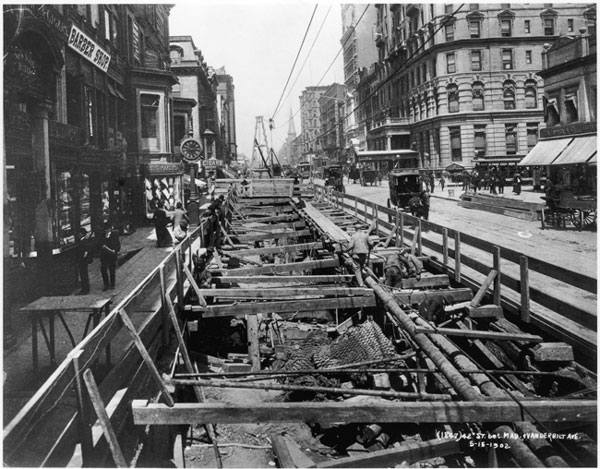 The New York Subway being constructed- Subways changed the way people can quickly move about a city
