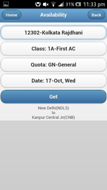 Application provides easy access to Indian Railways train information.