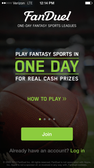Fanduel app, lets you play fantasy sports weekly to win money