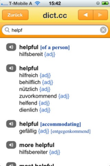 Dict.cc, online dictionary for German to English words