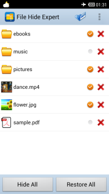 Hide any files(Pictures, Audio, Videos and etc.) or folders