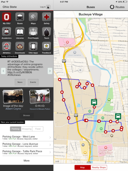 OSU's app has a bus map feature that tracks the bus lines in real-time