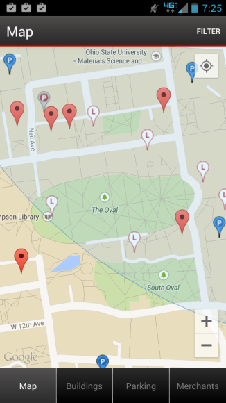 The OSU mobile app has a maps tab that shows different spots and features around campus like parking.