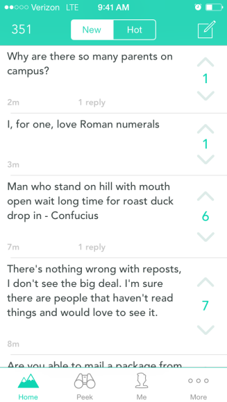 Yik Yak, an app for college students that only allows you to post if you are in the location.