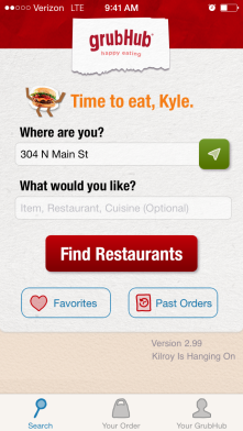 Grub hub uses maps to determine whether the restaurants are close to you.