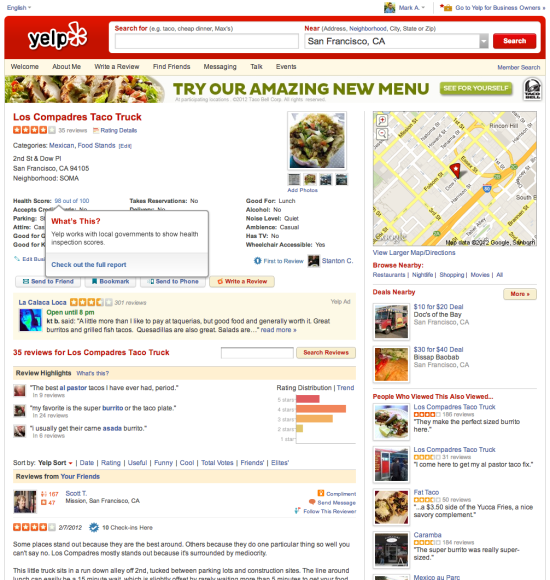 I live and die by yelp.  It has introduced me to new neighborhoods and helped me find all the best spots!