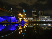 The power grid makes our cities colorful and helps to highlight urban amenities such as our water fronts. This picture is in Columbus Ohio.