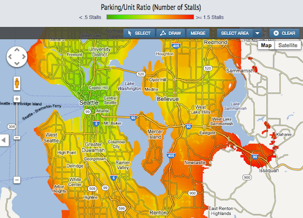 Intensity map of parking demand in Seattle. Researchers created a web tool accurately showing parking demand. Seattle was overbuilding it.