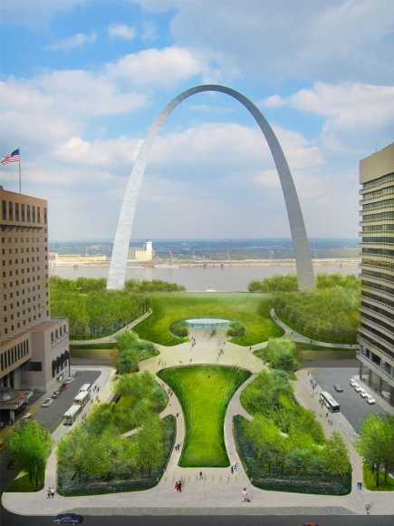 There's a massive redesign of the City Arch Grounds using all kinds of technology (not shown). this is what it will look like in 2015.