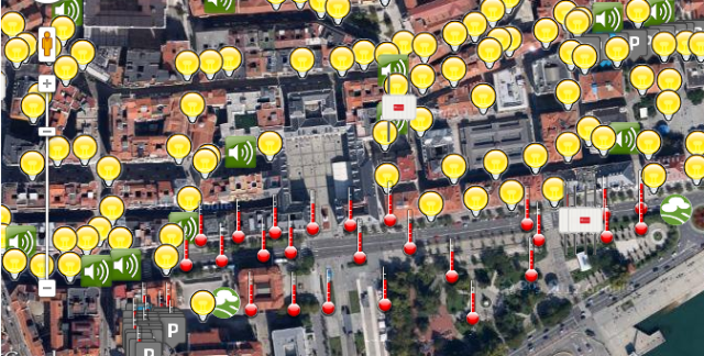 Sensors and repeaters to monitor noise, gases, temperature, energetic losses in buildings and free parking. Smart City Project in Santander.