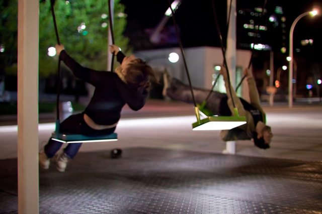 Technology used on a city but in a different way, more playfull. A redesign of the classic swings on every city http://vimeo.com/4098067