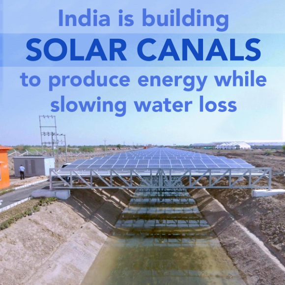 Solar smart grid + reduce water loss use same water loss for electricity generation..