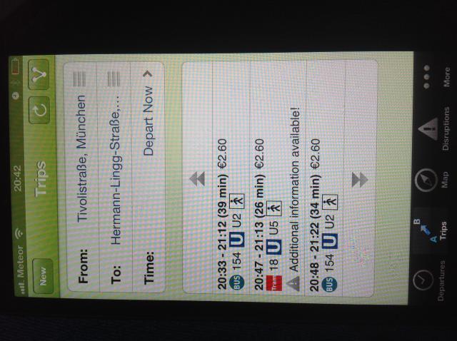 MVV Munich transport app. Best of its kind. It's worth taking a look. I was blown away by public transport in Munich.