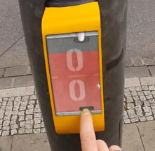 Pong traffic light in Germany. Play some pongs while waiting to cross the street.