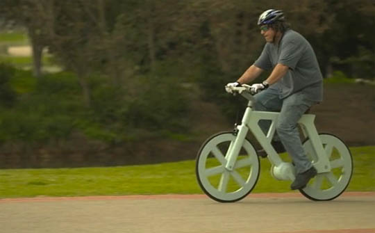 """A bike made of cardboard (paper) a """"green-way"""" to get around the city ;) Hint: Imagine this bike spiced up with some extra hi-tech gadgets!"""