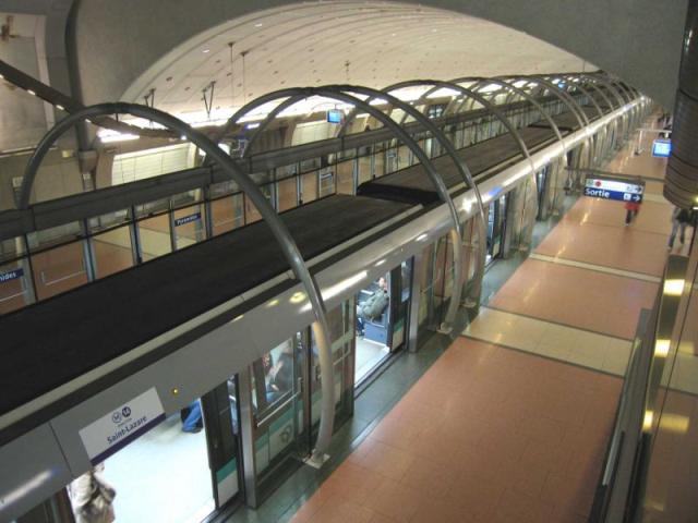 Automatic subway metro line 14 in Paris France.
