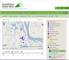 "Screen shot of Urban Voice Cambodia (www.urbanvoicecambo<wbr/><span class=""wbr""></span>dia,net) - a Phnom Penh-based crowdmapping project on urbanisation and it's impacts!"