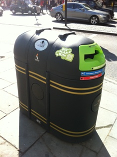 use of QR codes on bins to promote recycling