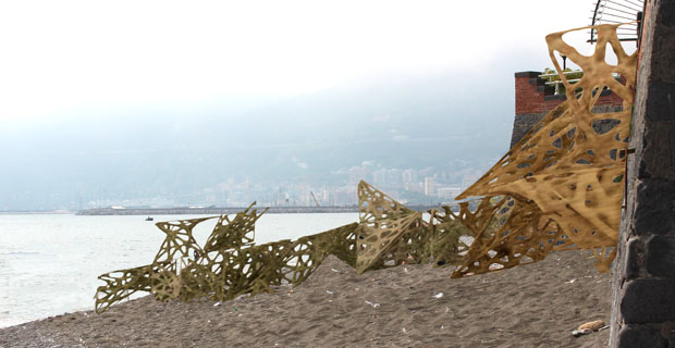 To reduce noise pollution: 3d modular structures in which the vegetation grows. Built with 3d printer, sun and sand