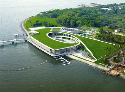 Reservoir in the City Marina Barrage, Singapore  Part of the government program to solve the clean water scarcity.