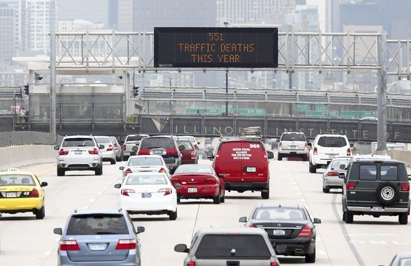 Chicago is showing traffic death tolls on signs to increase awareness about traffic/driving safety and reduce traffic fatalities.