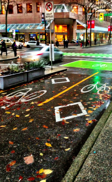Grate separated bike lanes, found in Vancouver, BC. Extra safety for sustainable personal transportation!