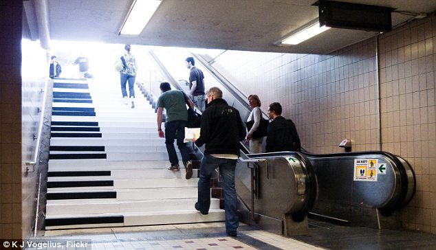 Take the stairs to play music. A way to start your day.