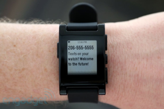 """Pebble"" launched in 2013, is the first smart watch. Besides the functions of a classic watch, it can be connected to smart phone or tab"