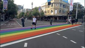 This crosswalk was created as part of Sydney's Pride Parade but was removed by authorities soon after as it was deemed unsafe!!!