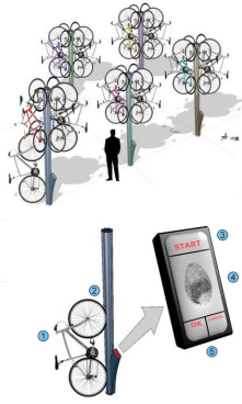 """Bike Tree"" Keeps Bikes Off Ground, Away From Sticky Fingers :)"