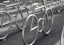 Bicycle stands with a bicycle theme by MAD arkitekter.<br/>The stylized bicycle structures of stainless steel provide safe bicycle parking.