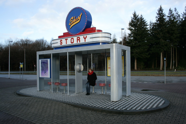 Bus stop at transferium near Garderen, Netherlands. Inside you can listen to a selection of short stories. Art project by Jerome Symons.