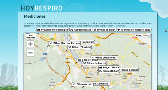HOYRESPIRO allows receiving information about the city air quality extracted from the environmental control networks existing in Bilbao.