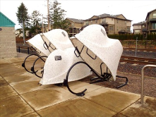 The BikeLids in Oregon Lightrail-MAX Station allow the cyclist to use thier own bike lock to secure and completely cover bike