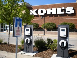 The electric car charging stations are popular at shopping malls and grocery stores