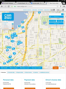 One way car share programs such as car2go introduce new opportunities, but also problems. Here, cars tend to accumulate near 1 large office.