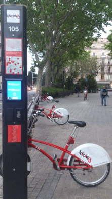 Barcelone, Spain Public transport bike system using a personal card take a bike in a station. An app tells you how many bikes are available.
