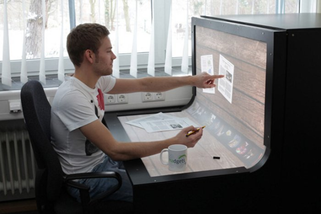 Bend desk.  An all in one workspace and touch screen.