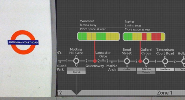 Proposed system uses a digital platform display to indicate passenger volumes of various subway cars http://bit.ly/10pIdP4