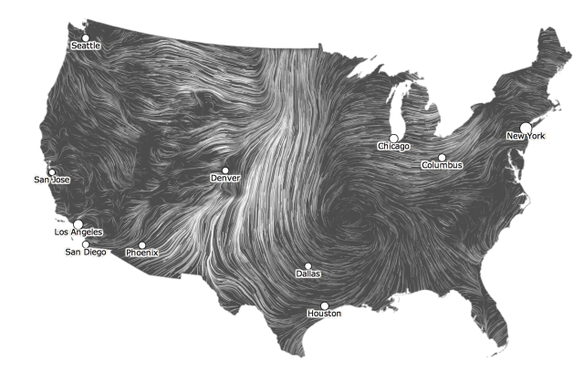 this is a cool wind map i found it shows how fast the wind is going and in what direction according to the weather across the united states.