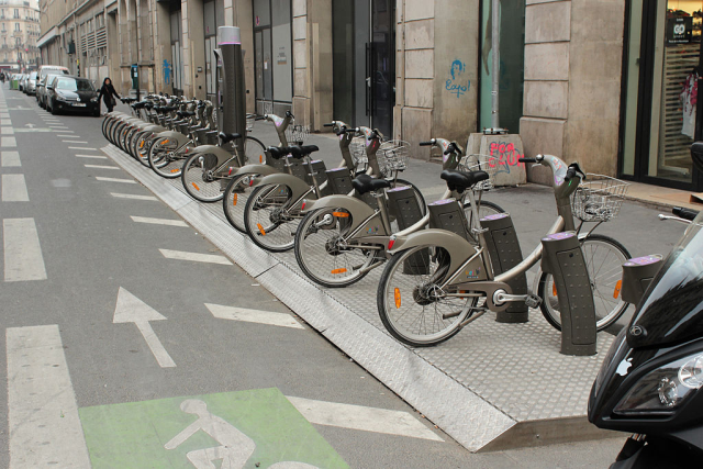 A bicycle sharing system in Paris, France.  (Source Wikipedia/Wikimedia)