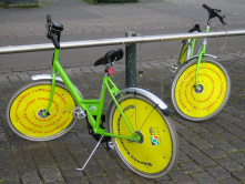 """Cute"" (questionable!) bikes from the bicycle sharing program in Helsink, Finland.<br/><br/>(Source: Wikipedia/Wikimedia)"