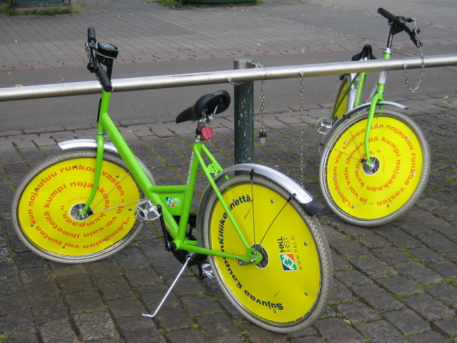 """Cute"" (questionable!) bikes from the bicycle sharing program in Helsink, Finland.