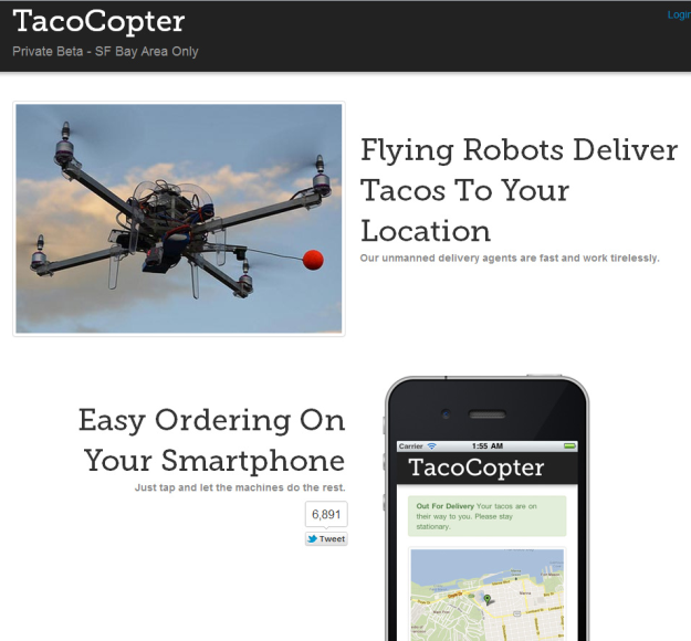 Want tacos delivered at home? Yeah! There's a drone for that. And of course there's an app to go with that! :D