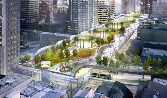 Multimodal transit center with roof top park. http://inhabitat.com/final-design-for-sfs-transbay-transit-center-includes-public-rooftop-park
