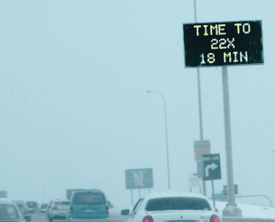 Technology used in Calgary, Alberta along the Deerfoot to help manage traffic
