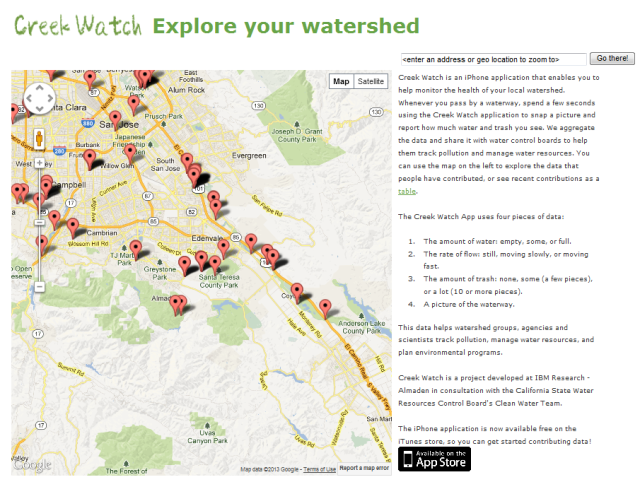 creekwatch.researchlabs.ibm.com - take a picture of trash/pollution, water flow - and it's all aggregated for cleanup and watershed mgmt.