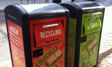Solar-powered trash containers in Louisville, KY.