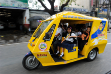 Electric Tricycles. A collaborative project of the ADB and the Philippine government. E-trikes were introduced to lessen CO2 emission.